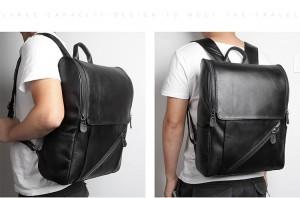 Рюкзак мужской кожаный J.M.D. G-7344А-1 черный фото2 на модели
