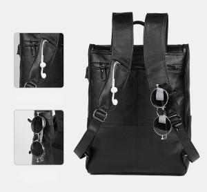 Рюкзак мужской кожаный J.M.D. G-7344А-1 черный фиксатор для очков и шнура