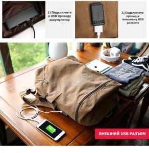 Холщовый рюкзак Muzee ME_1189 бежевый, в домашней обстановке, USB разъем
