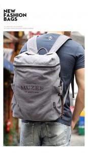 Холщовый рюкзак Muzee ME_1189 серый, надетый на мужчину фото2