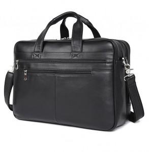 Кожаная сумка для ноутбука 17.3 вид спереди