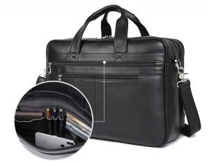Кожаная мужская деловая сумка J.M.D. 7319A, кармашки на лицевой стороне. органайзер для ручек