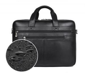 Кожаная мужская деловая сумка J.M.D. 7319A, специальная водоотталкивающая пропитка кожи