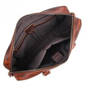 Мужская кожаная сумка для документов J.M.D. 7349Q коричневая, фото основного отделения