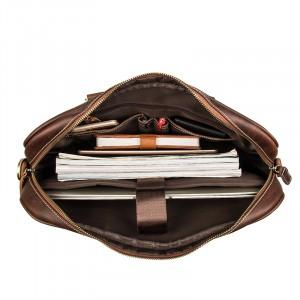 Мужская кожаная сумка для документов J.M.D. 7349Q коричневая, основное отделение, заполненное вещами