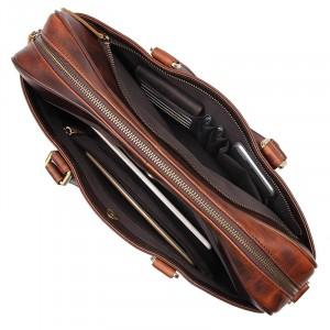 Мужская кожаная сумка для документов J.M.D. 7349Q коричневая, фото дополнительных отделений на лицевой и задней стенках сумки