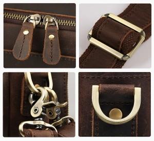 Мужская сумка для ноутбука 15.6 J.M.D. 7388R коричневая, детали, фурнитура