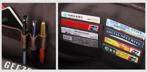 Мужская сумка для ноутбука 15.6 J.M.D. 7388R коричневая, кармашки для карт, держатели для ручек