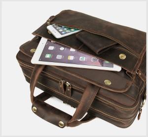 Мужская сумка для ноутбука 15.6 J.M.D. 7388R коричневая, карманы на лицевой стороне