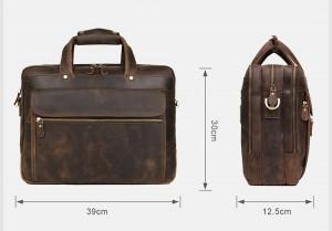 Мужская сумка для ноутбука 15.6 J.M.D. 7388R коричневая размеры модели