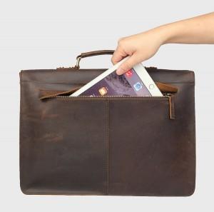 Винтажный мужской портфель J.M.D. 7223 коричневый, карман на задней стенке портфеля