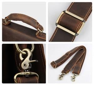 Мужской ретро портфель J.M.D. 7164R коричневый, фурнитура, детали портфеля крупным планом