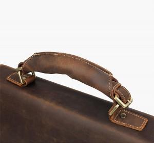 Мужской ретро портфель J.M.D. 7164R коричневый. фото ручки крупным планом