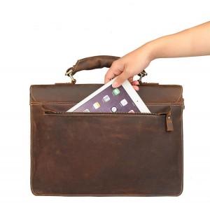 Мужской ретро портфель J.M.D. 7164R коричневый, карман на молнии на задней стенке портфеля
