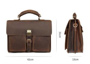 Мужской ретро портфель J.M.D. 7164R коричневый, фото с размерами портфеля
