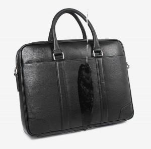 Кожаная мужская сумка J.M.D. черная 7400A, водоотталкивающая пропитка кожи