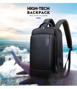Мужской кожаный рюкзак BOPAI 851-036511 черный - идеальный деловой рюкзак для путешествий