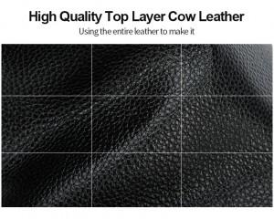 Фрагмент натуральной короввьей кожи, использующейся при производстве мужского кожаного рюкзака BOPAI 851-036511