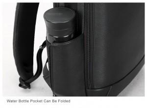 Мужской кожаный рюкзак BOPAI 851-036511, боковой карман для бутылки с водой убирается при необходимости