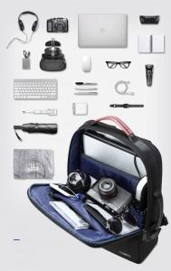 Деловой мужской рюкзак BOPAI 61-2311 черный, объем вмещаемых вещей
