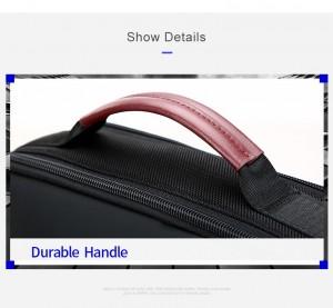 Деловой мужской рюкзак BOPAI 61-2311 черный фото ручки чемодана крупным планом