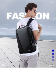 Деловой мужской рюкзак BOPAI 61-2311 черный, фото 2 на мужчине