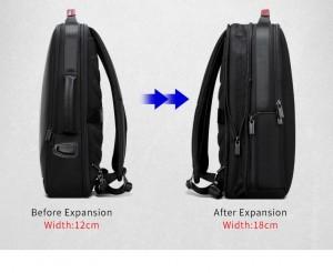 Деловой мужской рюкзак BOPAI 61-2311 черный, рюкзак увеличивается по ширине на 6 см благодаря молнии