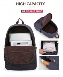 Холщовый рюкзак Muzee унисекс ME0710CD, фото основыных отделений и кармашков