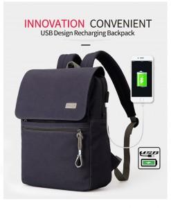 Холщовый рюкзак Muzee ME1108 синий с USB зарядкой