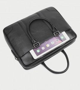 Кожаная мужская сумка J.M.D. черная 7400A, карман на передней панели