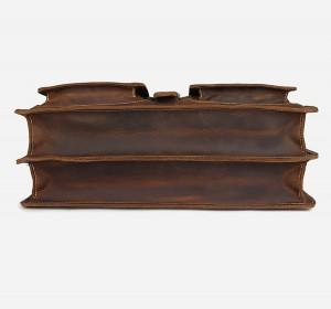 Мужской ретро портфель J.M.D. 7164R коричневый, фото дна портфеля