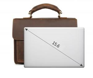 Мужской ретро портфель J.M.D. 7164R коричневый, вмещает ноутбук 15,6 дюймов