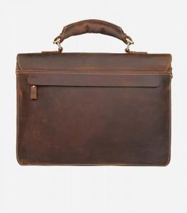 Мужской ретро портфель J.M.D. 7164R коричневый, фото задней стенки портфеля