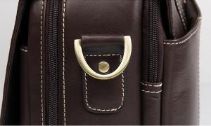 Портфель кожаный J.M.D. 7396Q коричневый, фурнитура крупным планом