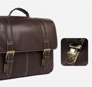 Портфель кожаный J.M.D. 7396Q коричневый, основное отделение, фото магнитных конопок