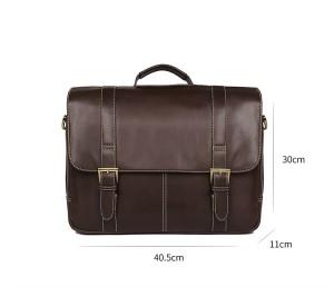 Портфель кожаный J.M.D. 7396Q коричневый, основное отделение, размеры портфеля