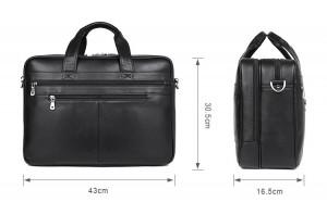 Кожаная сумка-портфель J.M.D. 7319A черная фото с размерами сумки
