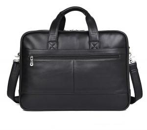 Кожаная сумка-портфель J.M.D. 7319A черная фото задней стенки сумки