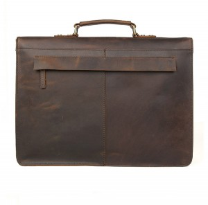 Винтажный мужской портфель J.M.D. 7223 коричневый, задняя стенка портфеля