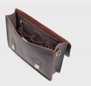 Винтажный мужской портфель J.M.D. 7223 коричневый, основное отделение