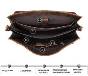 Мужской ретро портфель J.M.D. 7164R коричневый фото основного отделения