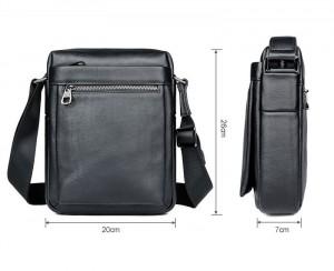 Сумка планшет кожаная J.M.D. 1051A черная схема с размерами