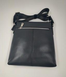 Сумка планшет из натуральной кожи J.M.D. 1048A черная тыльная сторона сумки