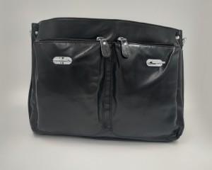 Кожаный портфель J.M.D. черный 7100С лицевая строна