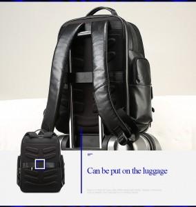 Дорожный кожаный рюкзак BOPAI 851-019811 легко фиксируется на ручке чемодана