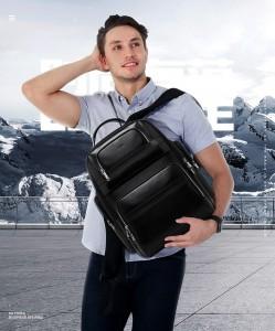 Дорожный кожаный рюкзак BOPAI 851-019811 на плече мужчины