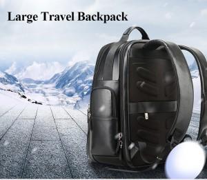 Дорожный кожаный рюкзак BOPAI 851-019811 благодаря пропитке не боится снега и воды