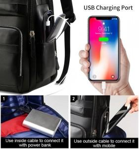 Дорожный кожаный рюкзак BOPAI 851-019811 USB разъем находится в кармане на молнии
