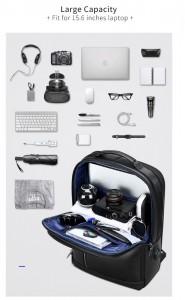 Кожаный деловой рюкзак BOPAI 851-036611 основное отделение