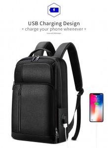 Кожаный рюкзак для ноутбука 15.6 BOPAI 851-036611 с USB разъемом